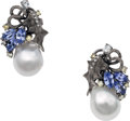 Estate Jewelry:Earrings, South Sea Cultured Pearl, Sapphire, Colored Diamond, Diamond, GoldEarrings. ... (Total: 2 Items)