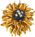 Estate Jewelry:Brooches - Pins, Diamond, Sapphire, Gold Clip-Brooch. ...