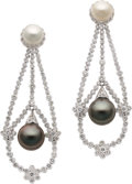 Estate Jewelry:Earrings, Black South Sea Cultured Pearl, Cultured Pearl, Diamond, White GoldEarrings. ... (Total: 2 Items)