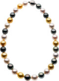 Estate Jewelry:Necklaces, Multi-Color South Sea Cultured Pearl, White Gold Necklace. ...
