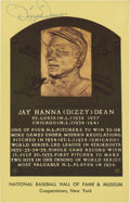 Autographs:Post Cards, Dizzy Dean Signed Gold Hall of Fame Plaque....