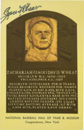 Autographs:Post Cards, Zack Wheat Signed Gold Hall of Fame Plaque....