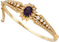 Estate Jewelry:Bracelets, Amethyst, Diamond, Cultured Pearl, Gold Bracelet. ...