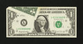 Error Notes:Foldovers, Fr. 1903-L $1 1969 Federal Reserve Note. Crisp Uncirculated.. ...