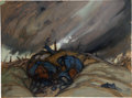 "Military & Patriotic:WWI, World War I: ""Adieu la Vie"" by S. Cornelius, a Painting from theCollection of Thomas W. Lamont, Circa 1918...."