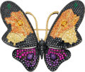 Estate Jewelry:Brooches - Pins, Colored Diamond, Multi-Gemstone, Gold Brooch. ...