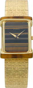 Timepieces:Wristwatch, Piaget Gent's Gold & Tiger Eye Wristwatch, circa 1980. ...