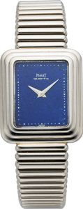 Timepieces:Wristwatch, Piaget White Gold Wristwatch With Lapis Lazuli Dial, circa 1985. ...