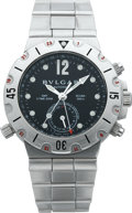 Timepieces:Wristwatch, Bvlgari Diagno Professional Scuba GMT Steel Wristwatch, circa 2000....