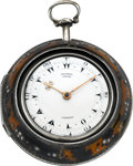 Timepieces:Pocket (pre 1900) , George Prior London Silver & Tortoiseshell Triple Cased Verge, circa 1830. ...