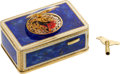 Timepieces:Musical - Mechanical , Gilt Metal & Enamel Singing Automaton Bird Box. ...