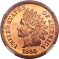 Proof Indian Cents, 1866 1C PR67 Red and Brown NGC....