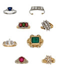 Estate Jewelry:Lots, Lot of Multi-Stone, Diamond, Platinum, Gold Rings. ... (Total: 8Items)
