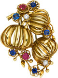Estate Jewelry:Brooches - Pins, Sapphire, Ruby, Diamond, Gold Clip-Brooch, circa 1945. ...