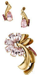 Estate Jewelry:Suites, Retro Kunzite, Ruby, Gold Jewelry Suite. ... (Total: 3 Items)