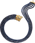 Estate Jewelry:Necklaces, Sapphire, Diamond, Gold Necklace, Sabbadini. ...