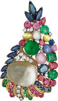 Estate Jewelry:Brooches - Pins, South Sea Cultured Button Pearl, Multi-Stone, Diamond, Silver, GoldBrooch. ...