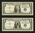 Error Notes:Attached Tabs, Fr. 1619 $1 1957 Silver Certificates. Two Examples. VeryFine-Extremely Fine.. ... (Total: 2 notes)