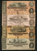 Confederate Notes:1862 Issues, Four CSA Notes.. ... (Total: 4 notes)