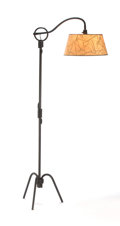 Lighting:Lamps, PROPERTY OF A GERMAN COLLECTOR. JEAN ROYÈRE. A Wrought Iron Adjustable Floor Lamp, circa 1950. 66-1/4 inches (168.3 cm) hi... (Total: 2 Items)