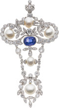 Estate Jewelry:Brooches - Pins, Sapphire, Diamond, Cultured Pearl, White Gold ConvertiblePendant-Brooch. ...
