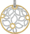 Estate Jewelry:Pendants and Lockets, Diamond, Colored Diamond, White Gold Pendant. ...