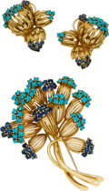 Estate Jewelry:Suites, Sapphire, Turquoise, Gold Jewelry Suite. ... (Total: 3 Items)