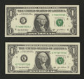 Small Size:Federal Reserve Notes, Fr. 1930-F $1 2003A Federal Reserve Note. Gem Crisp Uncirculated.. Fr. 1931-K $1 2003A Federal Reserve Note. Gem Crisp Uncircu... (Total: 2 notes)