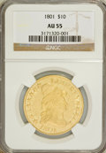 Early Eagles: , 1801 $10 AU55 NGC. NGC Census: (28/319). PCGS Population (62/254). Mintage: 44,344. Numismedia Wsl. Price for problem free ...