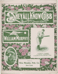 "Baseball Collectibles:Others, 1913 ""They All Know Cobb"" Sheet Music Picturing Ty Cobb...."