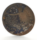 Ceramics & Porcelain, ADOLPHE LE COMTE. An Unusual Porceleyne Fles Jacoba Earthenware Wall Plate, after 1897. Marks: incised factory mark and F...