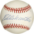Autographs:Baseballs, Eddie Matthews Single Signed Baseball. The Hall of Fame Bravesigned on the sweet spot of this ONL (Giamatti) baseball we m...