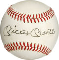 Autographs:Baseballs, Mickey Mantle Single Signed Baseball. Mickey Mantle penned hisfamous signature on the sweet spot of this OAL (MacPhail) ba...