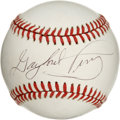 Autographs:Baseballs, Gaylord Perry and Jim Perry Signed Baseball. We offer a pristineONL (Giamatti) orb with the Perry brothers signature. Havin...
