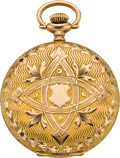 Timepieces:Pocket (post 1900), Elgin 16 Size Gold Hunter With Fancy Dial, circa 1904. ...