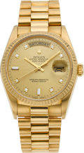 Timepieces:Wristwatch, Rolex Gent's Gold President With Diamond Dial, Ref. 18000, circa1987. ...
