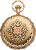 Timepieces:Pocket (pre 1900) , Waltham Gold Multicolor 6 Size With Diamond, circa 1891. ...
