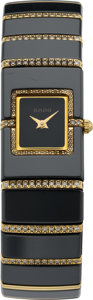 Timepieces:Wristwatch, Rado Black DiaStar Ladies Gold & Diamond Wristwatch. ...
