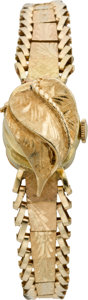 Timepieces:Wristwatch, Swiss Lady's Gold Covered Dial Wristwatch, circa 1950. ...