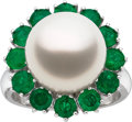 Estate Jewelry:Rings, South Sea Cultured Pearl, Emerald, White Gold Ring. ...