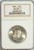 Franklin Half Dollars: , 1948 50C MS66 NGC. NGC Census: (37/1). PCGS Population (7/0).Mintage: 3,006,814. Numismedia Wsl. Price for problem free NG...