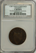 Colonials: , 1787 COPPER New Jersey Copper, Outlined Shield--EnvironmentalDamage--NCS. Fine Details. NGC Census: (2/8). PCGS Population...