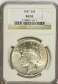 Peace Dollars: , 1927 $1 AU55 NGC. NGC Census: (43/3364). PCGS Population(139/5189). Mintage: 848,000. Numismedia Wsl. Price for problemfr...