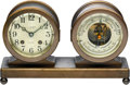 Timepieces:Clocks, Chelsea Clock Co. Boston Ships Bell Clock & Barometer/Thermometer Desk Set, circa 1929. ...
