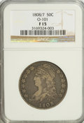 Bust Half Dollars: , 1808/7 50C Fine 15 NGC. O-101. NGC Census: (3/128). PCGS Population(9/136). Numismedia Wsl. Price for problem free NGC/P...