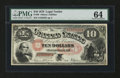 Large Size:Legal Tender Notes, Fr. 99 $10 1878 Legal Tender PMG Choice Uncirculated 64....