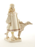 Ceramics & Porcelain, Continental:Modern  (1900 1949)  , CHRIS VAN DER HOEF. A Haga Earthenware Figure of a Young Girl, circa 1906. Marks: painted factory mark and designer's name o...