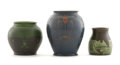 Ceramics & Porcelain, WILLEM BROUWER. Three Earthenware Vases, 1901, 1907, 1908. Marks: impressed factory mark, date, and model nos. 15, 138, and ...