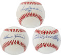 Autographs:Baseballs, Hall of Fame Sluggers Signed Baseballs Lot of 3....