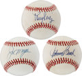 Autographs:Baseballs, Cincinnati Reds Hall of Famers Single Signed Baseballs Lot of 3....